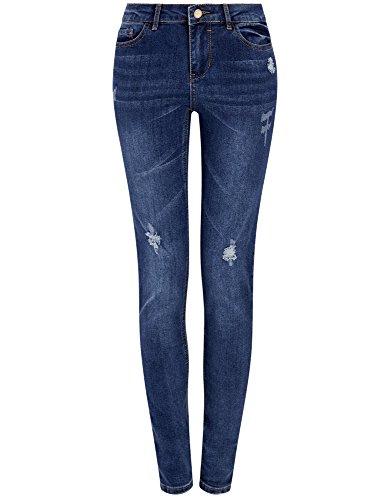 oodji Ultra Damen Jeans Skinny mit Used-Effekten, Blau, 27W / 32L (DE 36 / EU 38 / S)