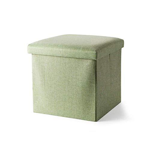 Tabouret de pied pliant Pouf Box Banquette Repose-pieds rembourré Lin Tissu Vinaigrette Tabouret de maquillage Siège avec Coussin pour Couloir | Salon en vert Max. 150 kg (taille : 38x38x38cm)