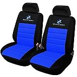 WOLTU AS7256-2 Set Coprisedili Anteriori Auto 2 Posti Seat Cover Protezioni Universali per Macchina Tessuto Poliestere Blu-Nero