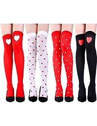 4 Pares de Calcetines de Rodilla de Día de San Valentín Calcetines Altos de Muslo Calcetines