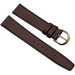 18mm Calf leather watch strap band in brown with buckle in gold
