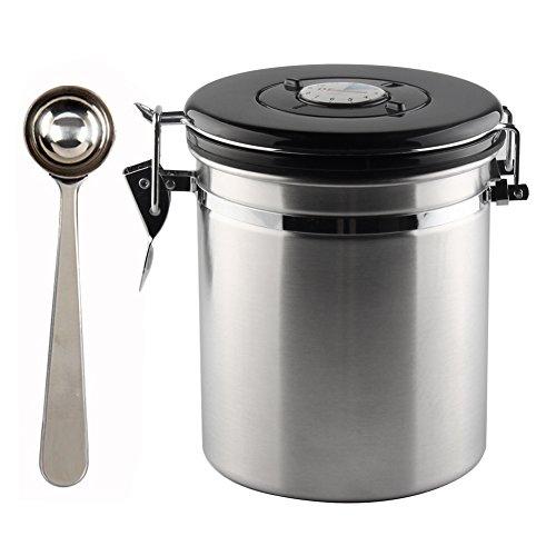 paracity Kaffeedose Edelstahl luftdicht Coffee Bean Kanister integrierter CO2Gas Vent Ventil und...