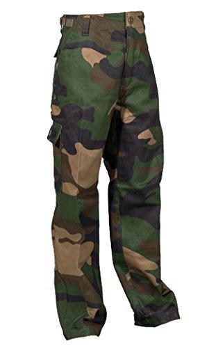 e US Style Kinder Jungen Mädchen Rangerhose Freizeithose Kampfhose viele verschiedene Farben S-XXXL (L (146/152), Woodland) (Mädchen Army Kostüme)
