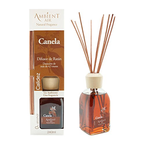 Ambientair Mikado Air Freshener for Home, Aroma Cinnamon, Crystal, Brown, 8 x 8 x 30 cm
