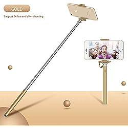 YsinoBear Mini Selfie Stick, Cellulare Selfie Sticks Estensibile Mini all in One Wire Selfie Stick per Cellulare (Colore : Gold)