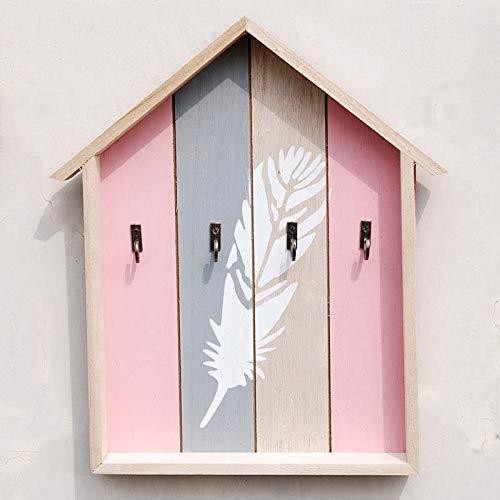 Wand- Dekorative Holzschlüsselhaken Storage Rack Kinderzimmerdekoration Schlüsselkasten Dachgepäckträger Geschenk 25.5 * 3.5 * 29.5cm Haushalt Küche Supplies