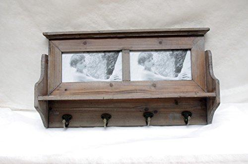 Garderobe Holz Ablage Regal Bilderrahmen Hakenleiste Wandgarderobe vintage shabby chic sylt