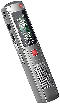 ESYNiC 8GB Grabadora Digital de Voz Activado por Voz Recargable 3 en 1 Con función MP3 para las Clases Reuniones Conferencias Riffs Instrumentos Cantos y Entrevistas etc