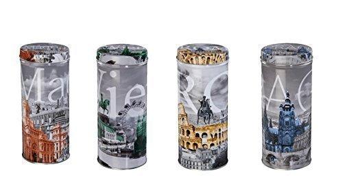 Kaffeepaddose mit Madrid-Rom-Prag und Wien Motiven