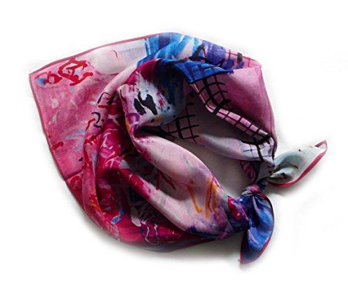 Foulard crepe quadrato, 100% seta, 52 cm x 52 cm