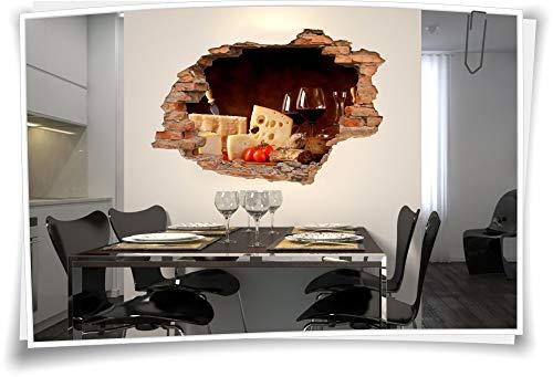 ld Wand-Tattoo Wand-Aufkleber Rot-Wein-Glas Käse Salami Delikatesse Küche, 120x80cm ()