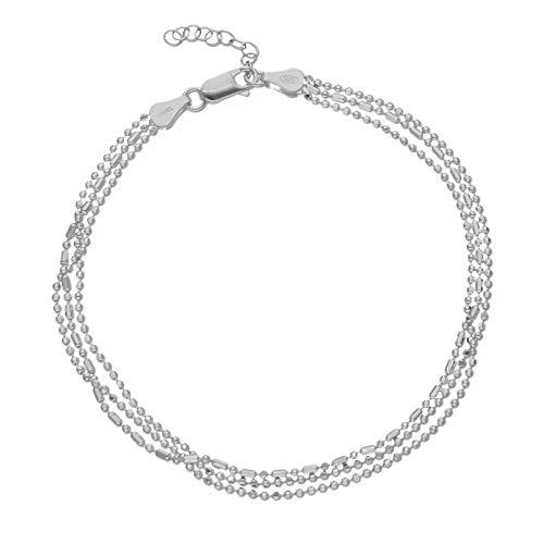 LillyMarie Damen Fußkette aus Silber Sterling-Silber 925 Längen-verstellbar Schmuck-Beutel Geburtstag Geschenke für Frauen