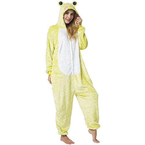 Katara 1744 -Frosch Kostüm-Anzug Onesie/Jumpsuit Einteiler Body für Erwachsene Damen Herren als Pyjama oder Schlafanzug Unisex - viele verschiedene Tiere (Kermit Der Frosch Kostüme Für Erwachsene)