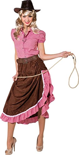(Orlob Damen Kostüm Cowgirl Western Rock Gerafft Karneval Fasching Gr.36/38)