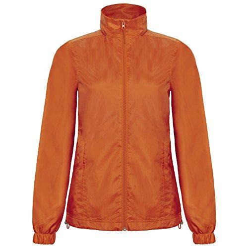 B&C Damen ID.601 Wind Jacke mit Kapuze, Wasser abweisend Rot