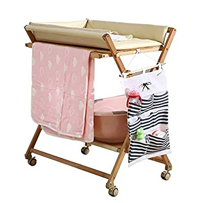 CHYEC Baby Changing Table Wood for Toddler, Nursery Mobile Dresser Station On Wheels, Table Height Adjustable (Color : White)