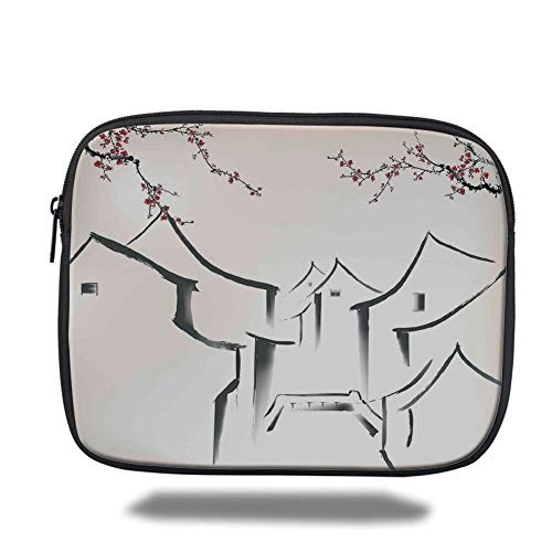 Tablet Bag for Ipad air 2/3/4/mini 9.7 inch,Asian Decor,Sketchy Houses and Sakura Trees Old Town Pagoda Eastern Heritage Romantic Artful Print,Ecru Red Black,3D Print Heritage House