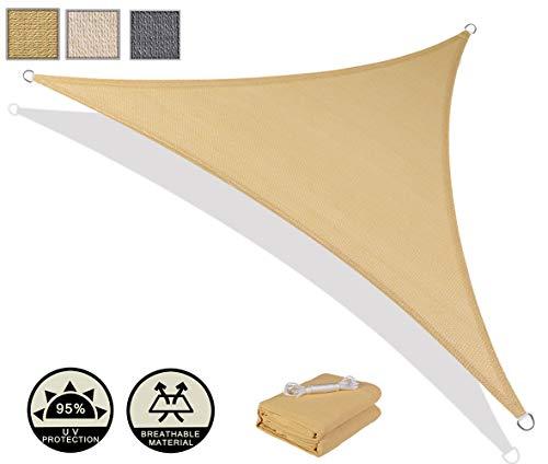 AXT SHADE Tenda a Vela Triangolare 4x4x5,65m, Traspirante e Protezione Raggi UV, per Esterni, Cortile, Giardino, Colore Sabbia