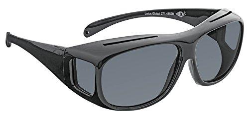 Wedo 27148599 Überzieh-Sonnenbrille für Autofahrer & Brillenträger, polarisierende Gläser gemäß ISO Norm, 100% UV Schutz, inkl. Brillenhülle, schwarz