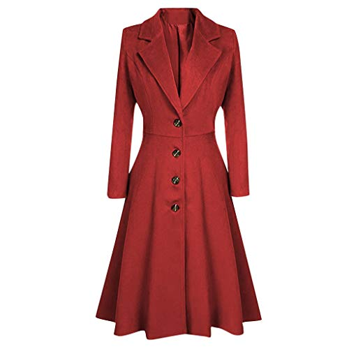 FeiBeauty Damen Wollmäntel, Damen Winter Warme Trenchcoats Mode Longline Coat Revers Neck Plus Größe Frauen Jacken Vintage Mantel Lange Parka Kleid