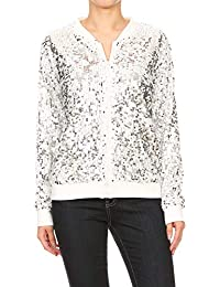 140e7f7937b7 Anna-Kaci Womens Sequin Long Sleeve Front Zip Jacket with Ribbed Cuffs
