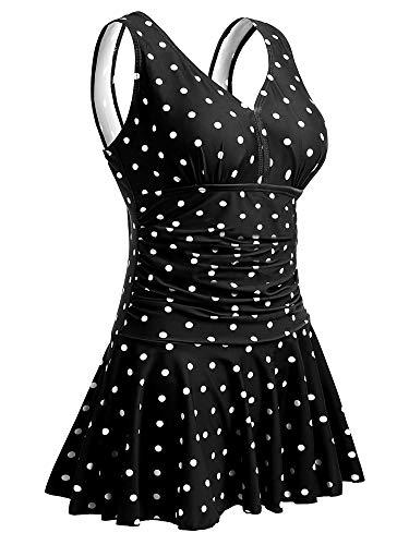 Summer Mae Damen Badekleid Plus Size Geblümt Figurformender Einteiler Badeanzug Swimsuit Schwarze Polka Dot EU 42-44 / L