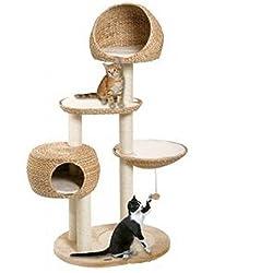 Paradise Arbre à chat multi-niveaux avec poteaux à griffer Feuilles de bananier tissées à la main Robuste/haute qualité Centre d'activité idéal pour petits et grands chats.