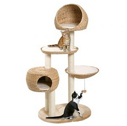 Hand Woven Banana Leaf Cat Tree With Durable and Robust Scratching Posts and Platforms. Ideal Activity Center for Small to Large Cats