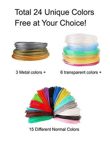 3D Stift Filament 24 Farben 3M PLA Filament 1.75mm 3d stifte farben für 3D Stift, kompatibel mit ODRVM, Tipeye, Uvistare, Lovebay, PLUSINNO, QPAU, Canbor, Juboury, Nexgadget und dikale 3d Pen 3D Druckstift von MKOEM - 2
