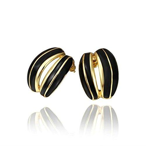 BeyDoDo Schmuck 18K Vergoldet Ohrringe für Damen OhrsteckerGut Schwarz Tröpfchen Ohr-Nagel Ohrringe Gold