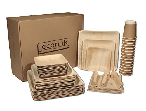 econuk - Set Completo di Piatti Bicchieri Posate e Tovaglioli Monouso Biodegradabili per 15 Persone 105 Pezzi + Extra - Piatti in Foglia di Palma stoviglie monouso ecologiche