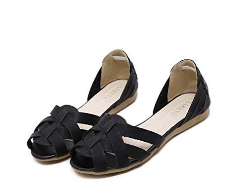 Frauen Peep Toe Flache Schuhe Wedge Ferse Hollow Casual Schuhe D'orsay Block Ferse Sandale Mama Sicherheit Schwangere Schuhe ( Color : Black , Size : 40 ) (Block-echtes Leder Color)