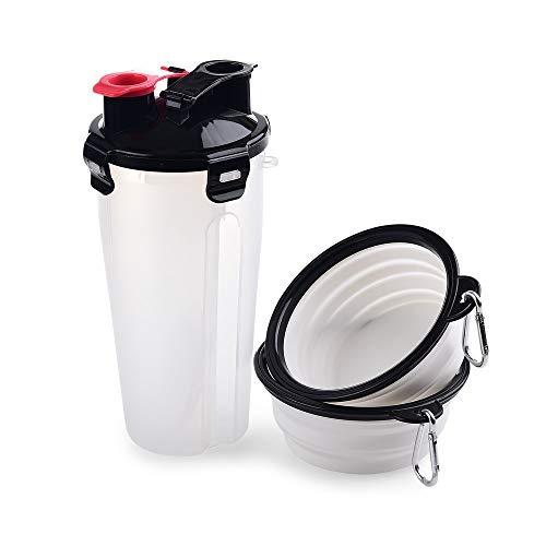 MUXItrade Hundetrinkflasche Tragbar Hundefutter und Wasser 2 in 1 Wasserflasche für Hunde mit 2 faltbaren Schüsseln für unterwegs, Leckdichte Outdoor Trinkflasche(350 ml / 250 g / Weiß)