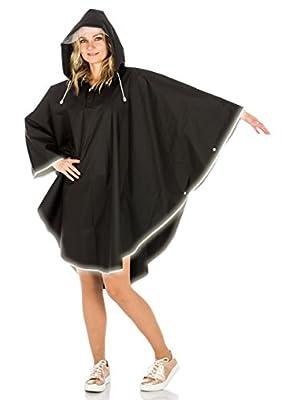 Regenponcho für Damen und Herren, schwarz EVA wiederverwendbar wasserdichte Regenjacke Regenmantel Regenumhang Regenschutz Fahrrad Regencape Regenkleidung Unisex Frauen Männer Raincoat
