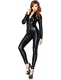 shoperama Wetlook Catsuit de Leg Avenue Mujer Disfraz de Agente de policía Gato Catwoman Charol.