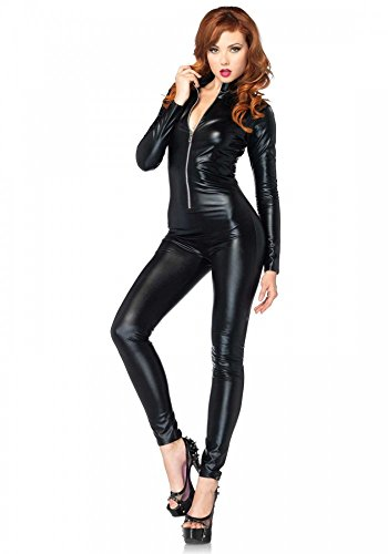 shoperama Wetlook Catsuit von Leg Avenue Damen-Kostüm Polizistin Katze Catwoman Lack Leder Overall Kinky sexy , ()