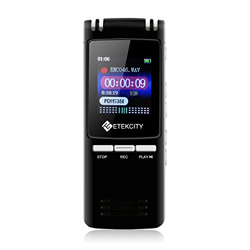 Etekcity 8GB Digitales Diktiergerät / Aufnahmegerät Digitalrecorder Sprachaufnahme Audio Voice Recorder & MP3 Player, Metallgehäuse