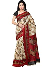 Macube Women's Bhagalpuri Silk Printed Saree With Blouse Piece - MS182_25_Maroon And Beige_Free Size