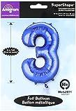 Amscan 22/55x 34/86cm Nummer 3Super Shape Folienballon, blau