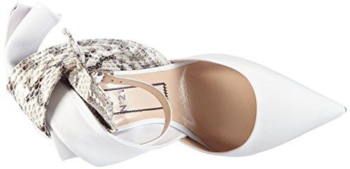 Unbekannt - 8761, Scarpe col tacco con cinturino a T Donna Bianco (Weiß (WHITE+NATURALE))