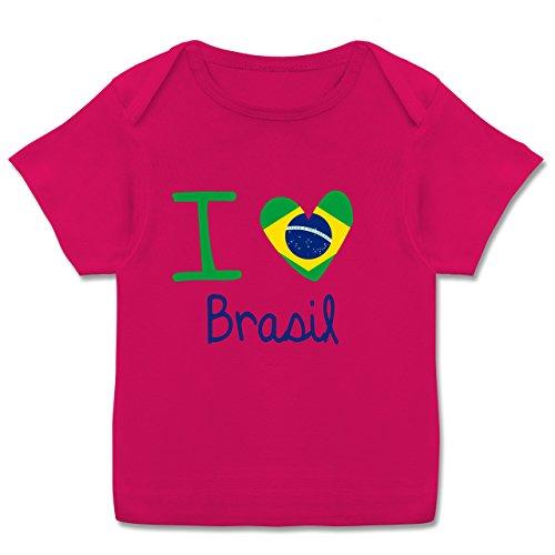 Städte & Länder Baby - I love Brasil - 68-74 (9 Monate) - Fuchsia - E110B - Kurzarm Baby-Shirt für Jungen und Mädchen in verschiedenen Farben (Leder-gewickelt 9 Leder)