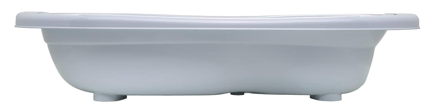 Rotho Babydesign TOP Xtra Large Bath Tub, With 2 Anti-Slip Mats and Drain Plugs, Ideal for 2 Children, 0-36 Months, TOP Xtra, Baby Blue Pearl (Light Blue), 205000103