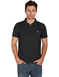 UNI COLORS POLO T-Shirts For Men's In Jhony Collar Pattern Half Sleeves Smart Fit For Ultimate Youth (ANTHRA MEL)