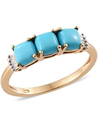 Sleeping Beauty Turquoise , Diamond Ring in 14K Gold Overlay Sterling Silver 1.55 Ct