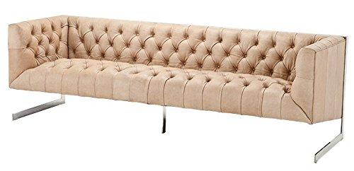 Casa Padrino Luxus Echt Leder Sofa Manhattan Vintage Leder Naturale - 3 Sitzer - Luxus Hotel Möbel
