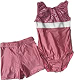 Sleeveless Gymnastics Yoga Aerobics Leotard Pink with Pink Shorts for Competition Size 28