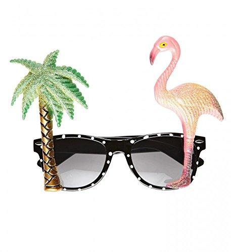 shoperama Tropische Sonnenbrille mit Palme und Flamingo Hawaii Brille Kostümzubehör Damen Herren