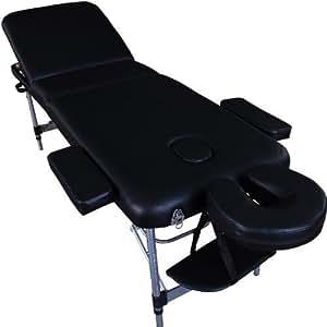 Massage Imperial® Mayfair Lettino Professionale Per Massaggio Portatile Alluminio 3 Sezioni Schiuma Ad Alta Densità 5cm, Nero