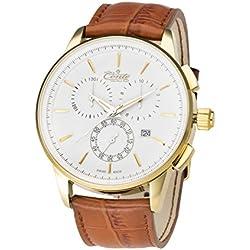 M.Conte Herren-Armbanduhr Chronograph Quarz Leder Braun Gold Swiss Made VIA-WH-BR-GRAVUR