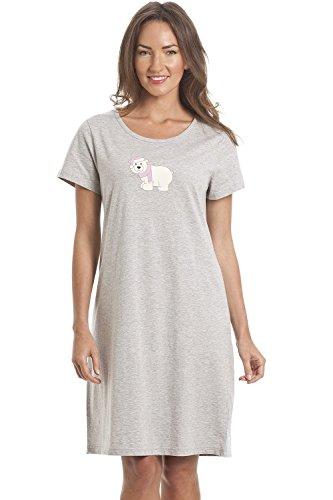 Camille Chemises de Nuit d'été en Coton Doux et Multicolore 38/40 Grey Polar Bea